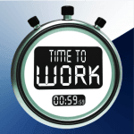 "A stopwatch with ""time to work"" written on it, signifying time management."