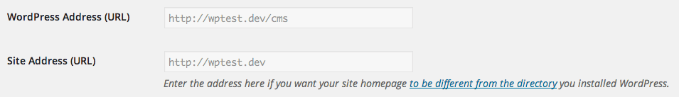 WordPress settings for site address