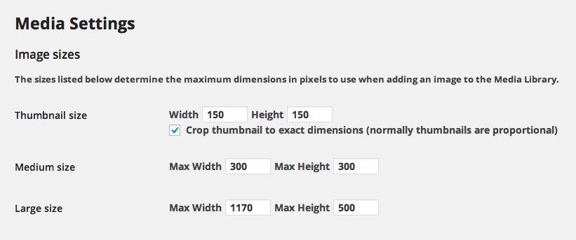 WordPress image size options (found under 'Settings', 'Media')