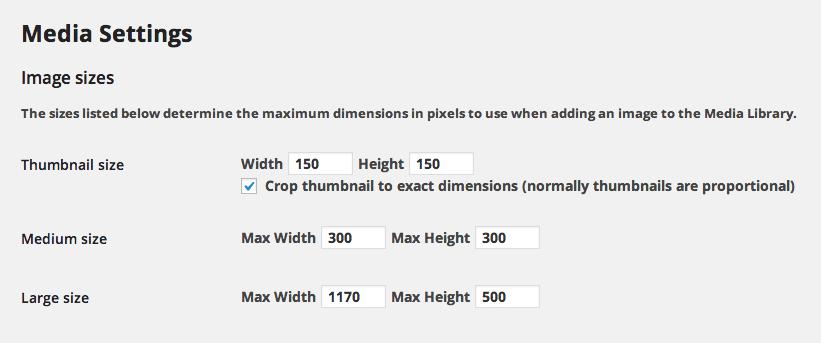 WordPress image size options (found under 'Settings', 'Media')