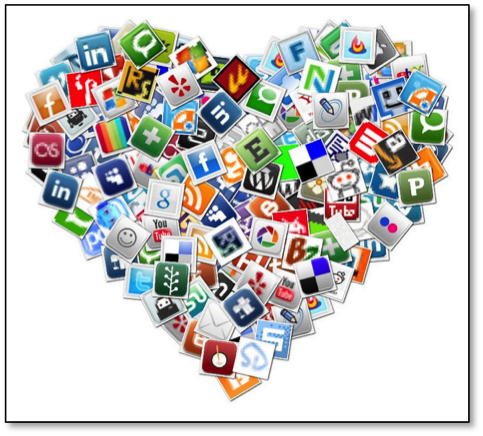 A wide variety of social media logos composed into a heart shape.