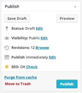 WordPress: publish options box