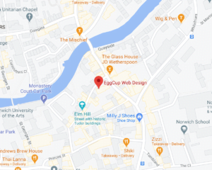 Map location for EggCup Web Design's studio at St. Simon And St. Jude Church, 49 Elm Hill, Norwich, Norfolk, NR3 1HG, United Kingdom.